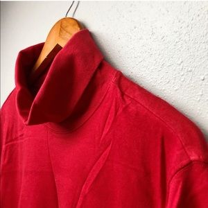 Solid Red Turtleneck Long Sleeve Shirt